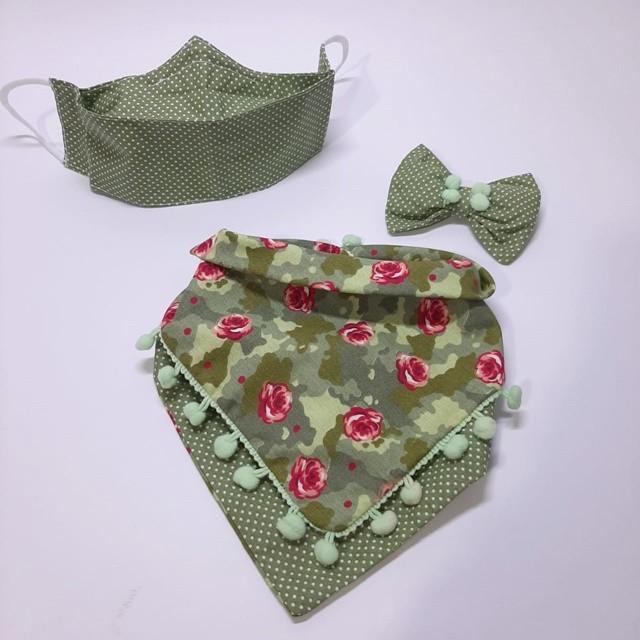 Kit Bandana + Máscara Floral Verde Dupla