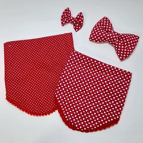 Kit Minnie Vermelha - Bandana + Laço com faixa elástica
