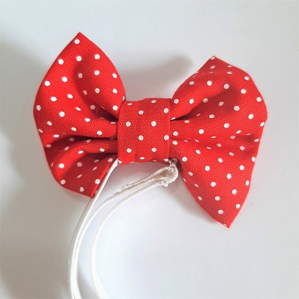 Laço Tradicional Poá Vermelho (faixa elástica)