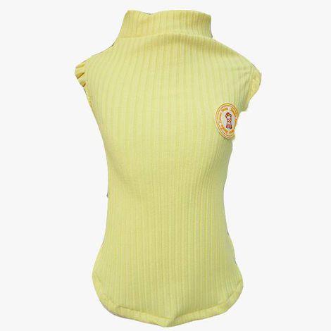 Regata Canelada Amarelo Bebê com babado