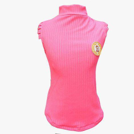 Regata Canelada Pink Neon com babado