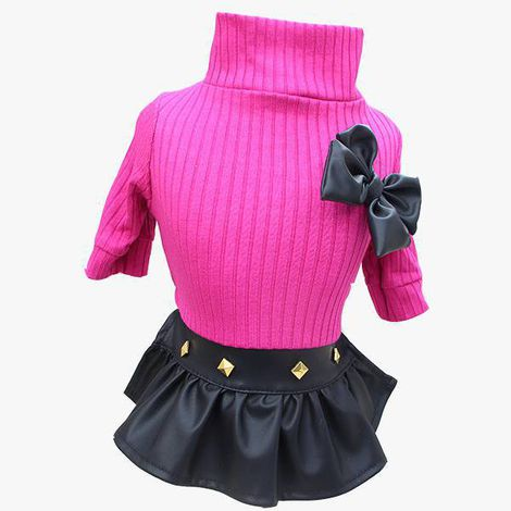 Saia Couro Preta com Blusa Pink