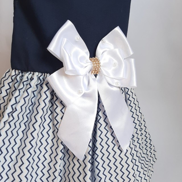 Vestido Azul Chevron