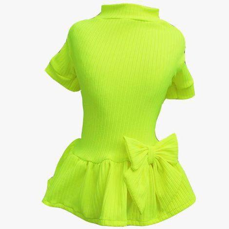 Vestido Canelado Amarelo Neon