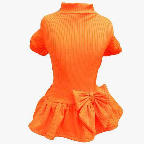 Vestido Canelado Laranja Neon
