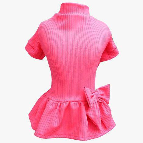 Vestido Canelado Rosa Neon