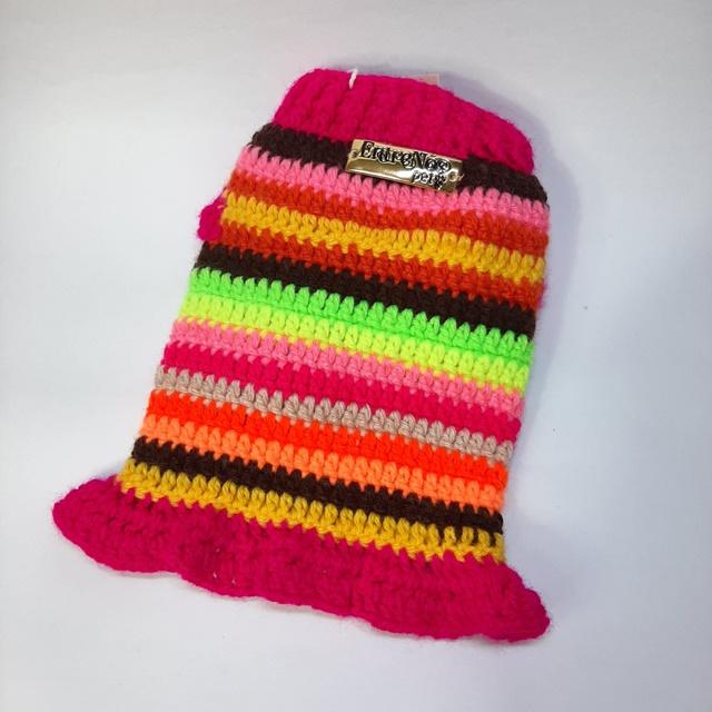Vestido Crochê para cachorro  Rosa com listras Coloridas