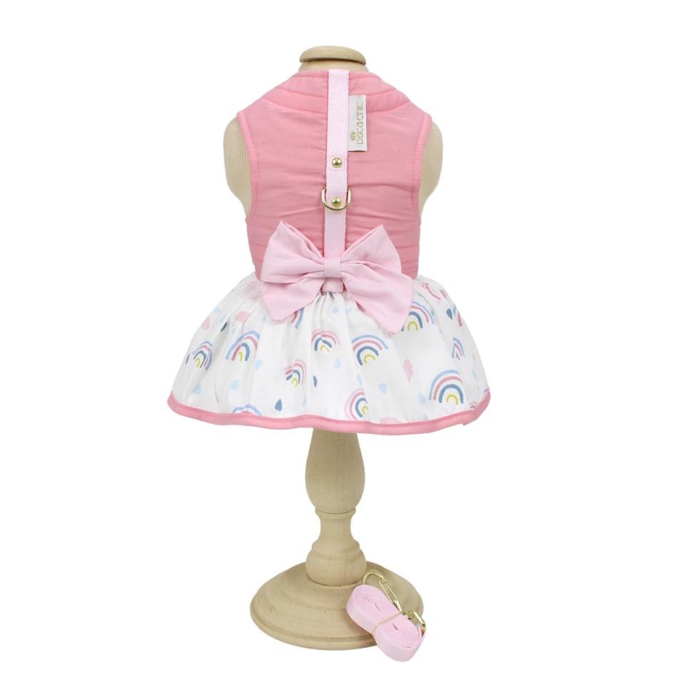 Vestido Laço e Guia Pata Chic Arco-Íris - Rosa