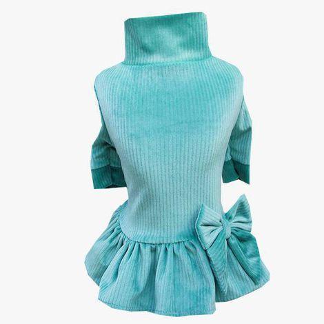Vestido Veludo Verde Agua