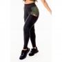Calça Legging Feminina Fitness Academia Preta com Detalhe em Tela Dry Fit e Verde Militar Cintura Alta
