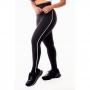 Calça Legging Feminina Fitness Academia Preta com Detalhe Lateral em Vivo Branco Cintura Alta