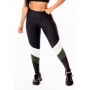 Calça Legging Feminina Fitness Academia Preta com Verde Militar e Branco Cintura Alta