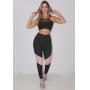 Conjunto Feminino Fitness Calça Legging Detalhe Rosê Cropped Detalhe Busto