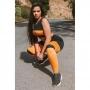 Conjunto Feminino Fitness Cropped + Calça Legging Preto Com Amarelo