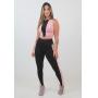 Conjunto Feminino Fitness Cropped Top e Calça Legging Preto Rosê