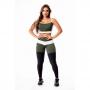 Conjunto Fitness Feminino Calça Legging Levanta Bumbum Preta com Verde Militar e Branco Cintura Alta e Cropped Alcinha Academia