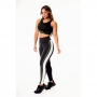 Conjunto Fitness Feminino Calça Legging Preta com Faixas Verde Militar e Branco Cintura Alta e Cropped Regata Academia