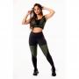 Conjunto Fitness Feminino Calça Legging Preta com Verde Militar Cintura Alta e Cropped Regata Academia