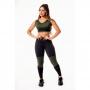 Conjunto Fitness Feminino Calça Legging Preta com Verde Militar Cintura Alta e Cropped Regata com Detalhes em Tela Academia