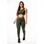 Conjunto Fitness Feminino Calça Legging Verde Militar Cintura Alta e Cropped Regata Academia