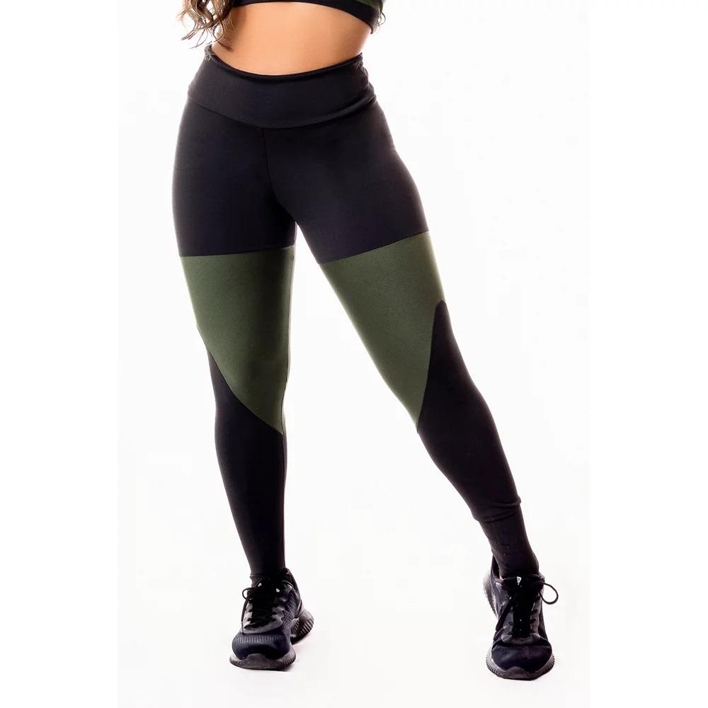 Calça Legging Feminina Fitness Academia Preta com Detalhes em Verde Militar Cintura Alta