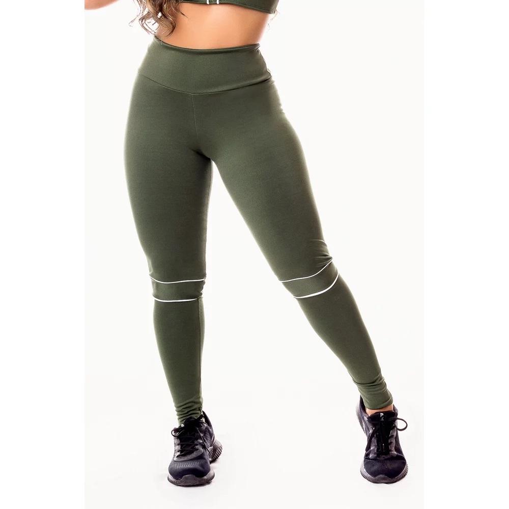 Calça Legging Feminina Fitness Academia Verde Militar com Detalhes em Vivo Branco Cintura Alta