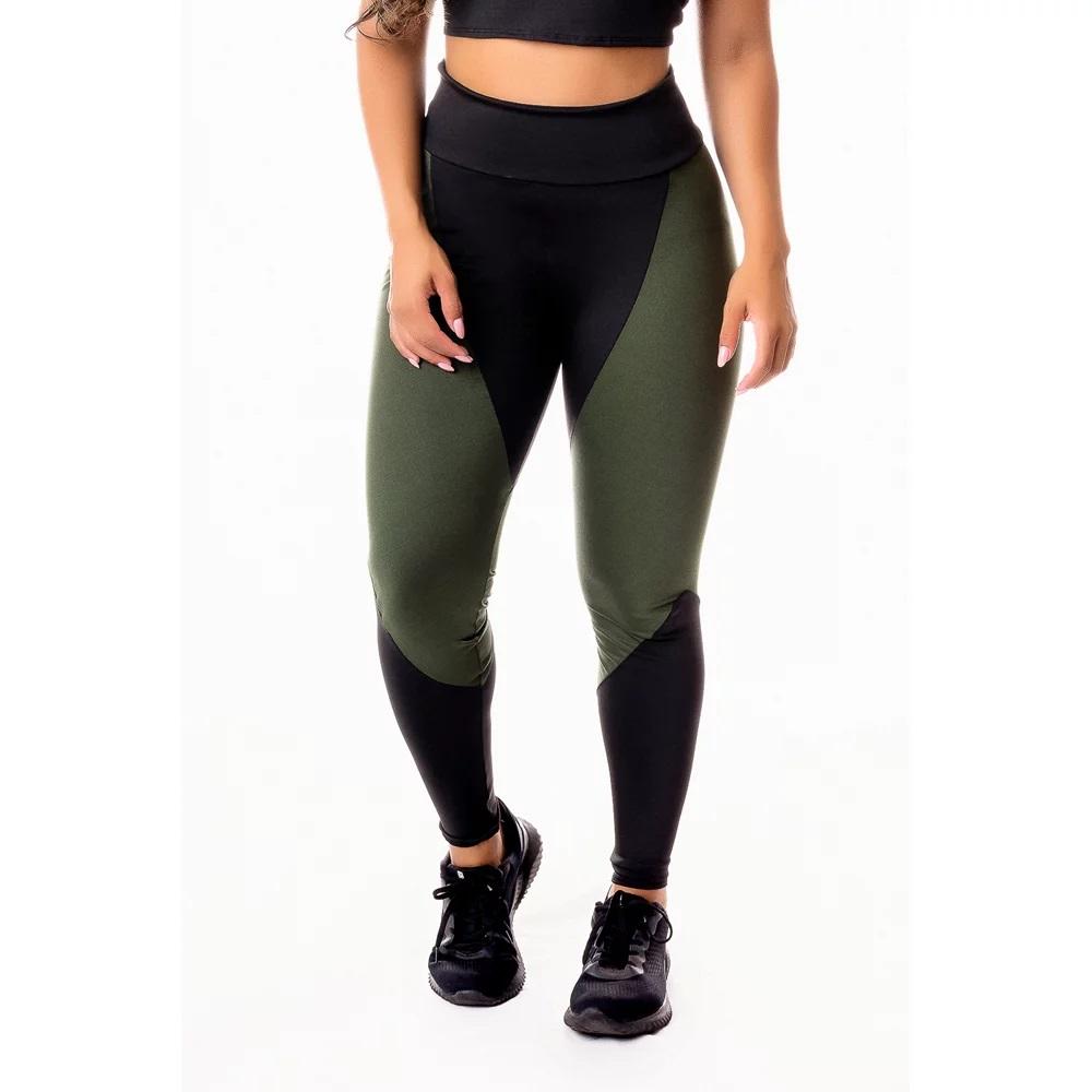 Calça Legging Feminina Fitness Academia Verde Militar com Preto Cintura Alta