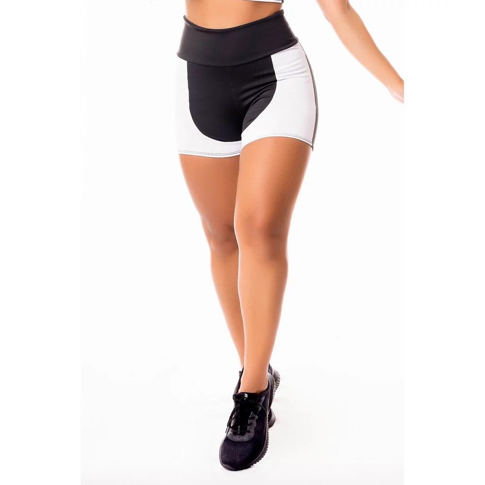 Short Fitness Feminino Academia Preto com Branco Cintura Alta