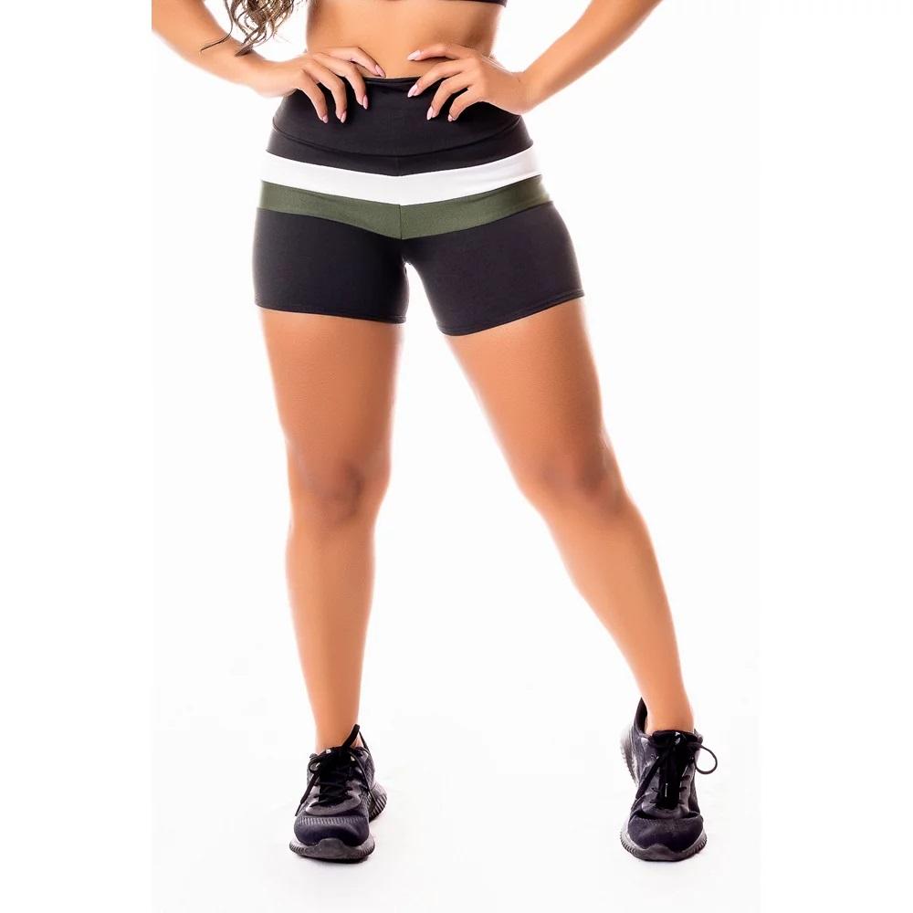 Short Fitness Feminino Academia Preto com Branco e Verde Militar Cintura Alta
