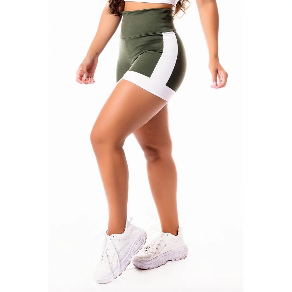 Short Fitness Feminino Academia Verde Militar com Branco Cintura Alta
