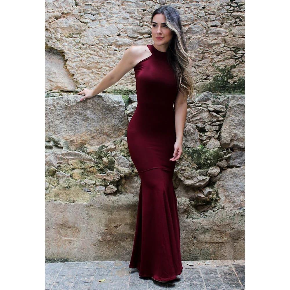 Vestido Feminino Longo Detalhe Pescoço Costa Aberta
