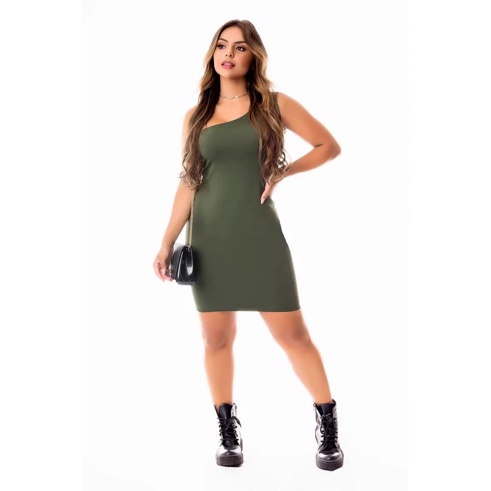 Vestido Feminino Tubinho Curto Social Um Ombro Só Social ou Dia a Dia