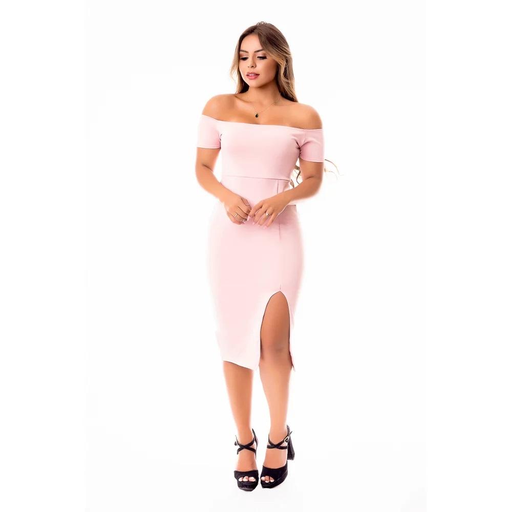 Vestido Feminino Tubinho Midi Social Ombro a Ombro com Fenda Social ou Dia a Dia
