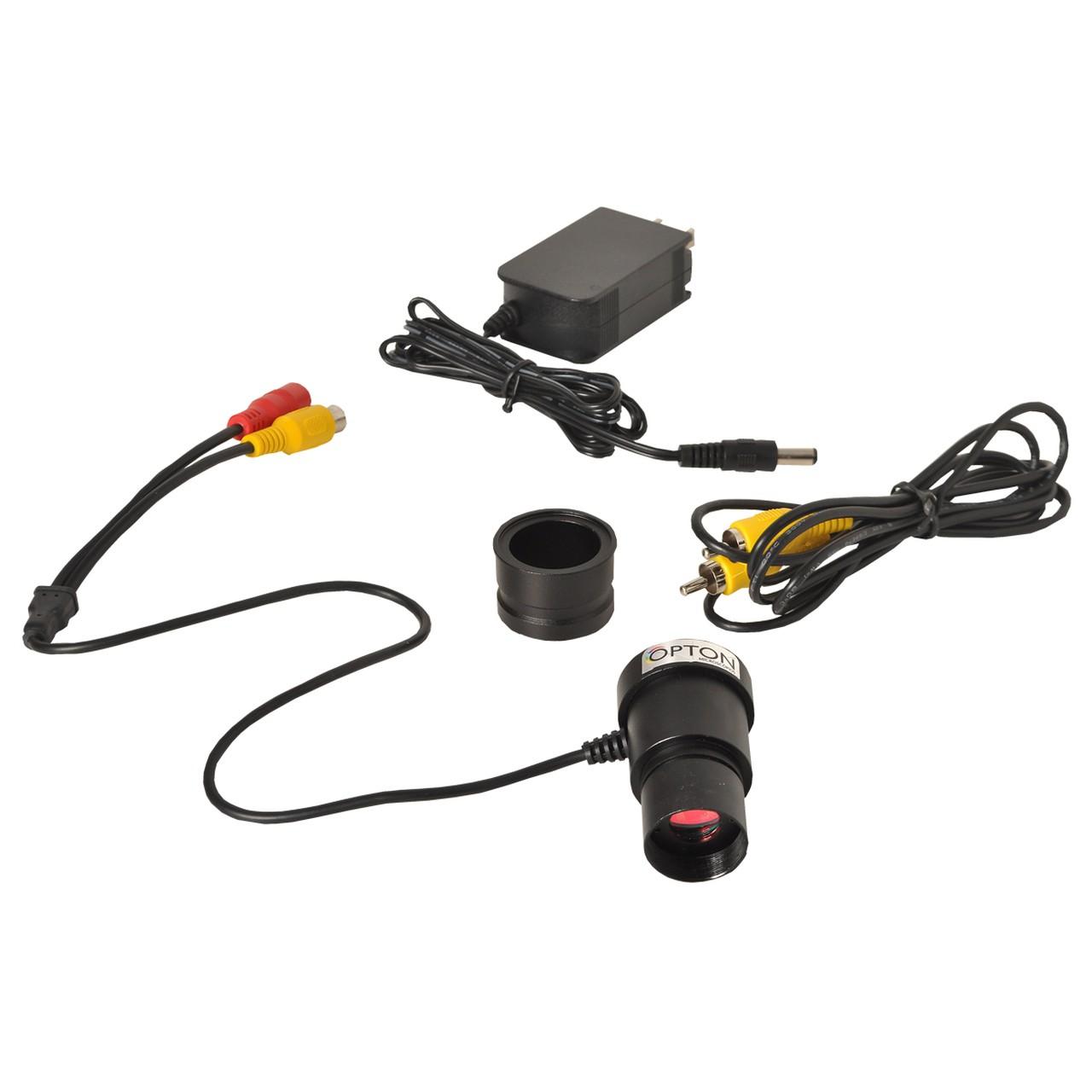Câmera de vídeo de alta resolução com saída RCA para conexão TV.