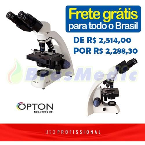 Microscópio Biológico Binocular com Ampliação de 40x até 1000x (opcional até 2000X), Óptica Plana, Iluminação LED e Suporte para Bateria Recarregável.