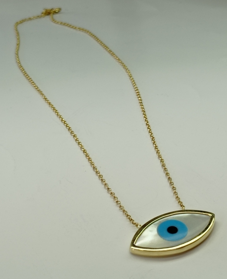 Cordão elo português + pingente olho grego