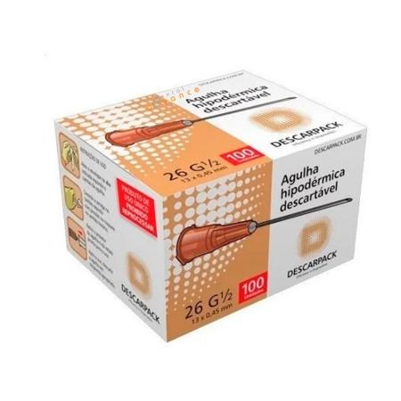 Agulha Descartável 0,45x13 26G com 100 caramelo - Descarpack
