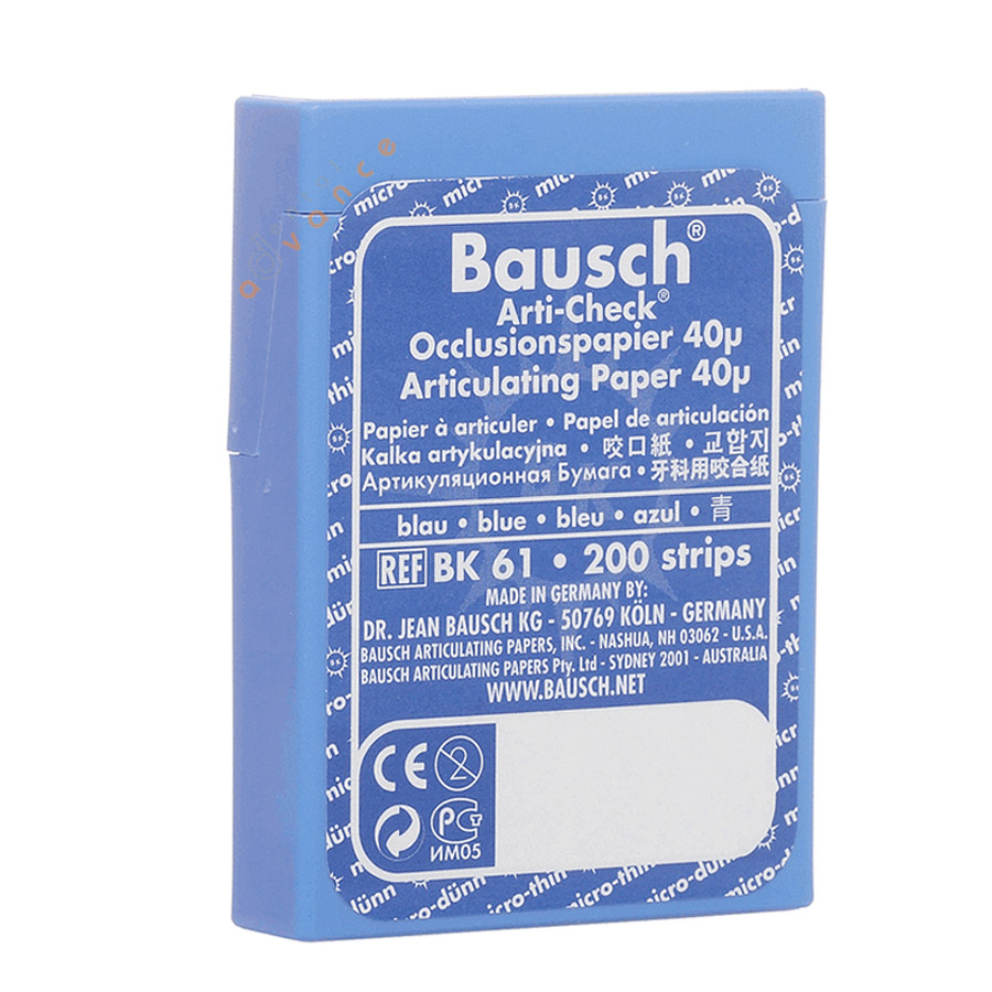 BK61 Papel Carbono Azul Dupla Face 40 µ Ajuste oclusal