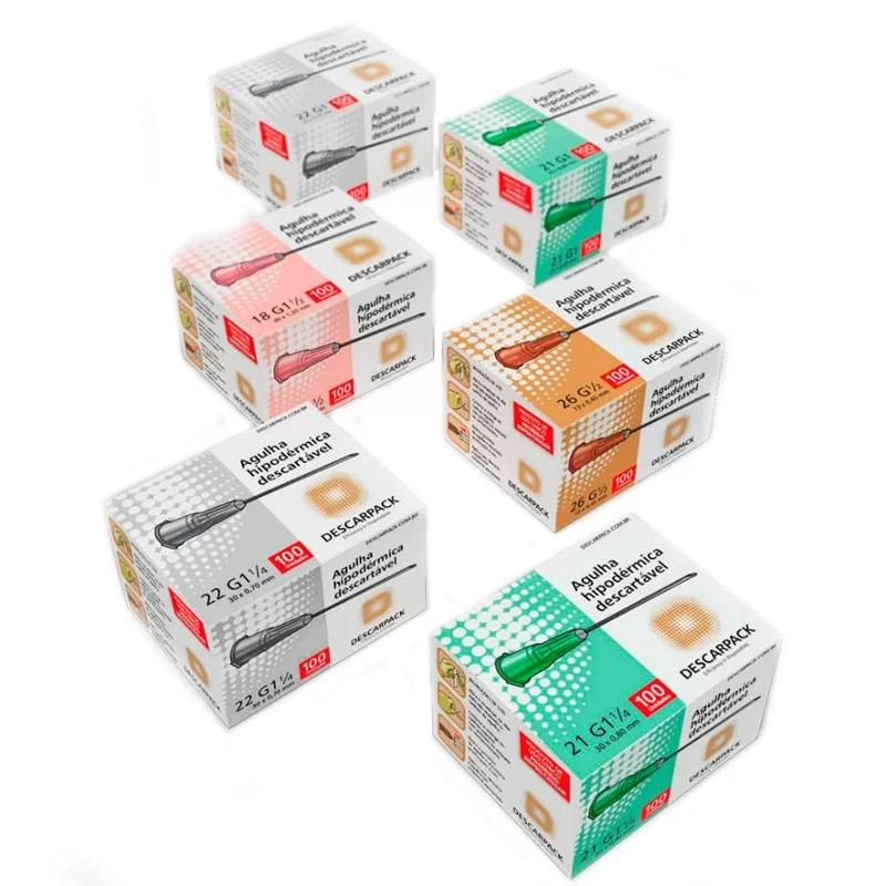 Descarpack Agulha Descartável 0,30x07 22G 1/2 c/100 preto  - Dental Advance