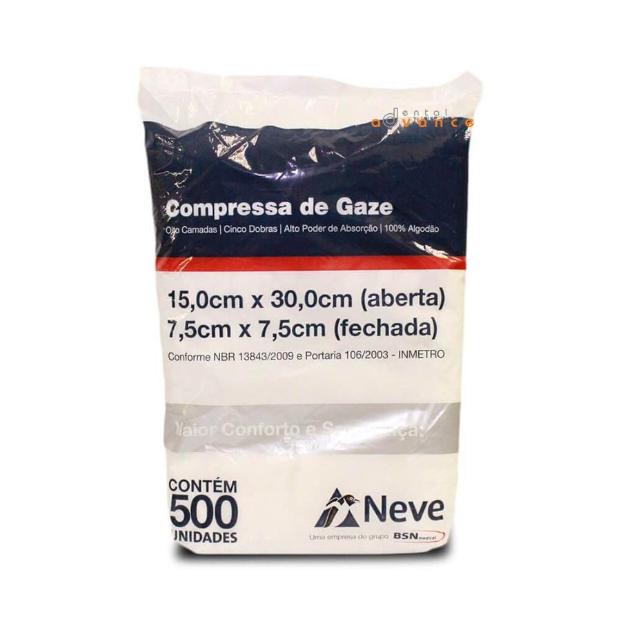 Gaze 13 Fios 7,5x7,5 com 500 compressas - Neve