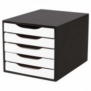 Caixa de Arquivo com 5 Gavetas Souza - Preto e Branco