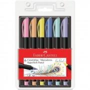 Caneta Brush Pen Ponta Pincel com 6 Cores Pastel Faber-Castell Super Soft