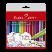 Canetas Hidrográficas Faber-Castell Fine Pen 12 Cores
