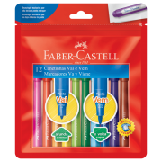 Canetinhas Hidrocores com 12 Cores Faber-Castell Vai e Vem