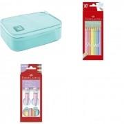 Kit - Lápis de Cor Faber-Castell 10 Cores Pastel + Canetinhas Hidrocores Faber-Castell Vai e Vem 6 cores Pastel + Estojo Tilibra Box Azul Claro