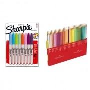 Kit - Lápis de Cor Faber-Castell 60 Cores Aquarela + Canetas Marcadoras Sharpie 8 Cores