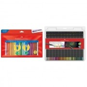 Kit - Lápis de Cor Faber-Castell Supersoft 50 Cores + Canetinha Hidrocor Faber-Castell Vai E Vem 24 Cores