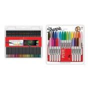 Kit - Lápis de Cor Supersoft 50 Cores + Marcador Permanente 24 Cores Sharpie