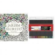 Kit - Livro de Colorir Antiestresse Jardim Secreto + Lápis de Cor Faber-Castell Supersoft 50 Cores