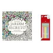 Kit - Livro para Colorir Antiestresse Jardim Secreto + Lápis de Cor 10 Cores Pastel Faber-Castell